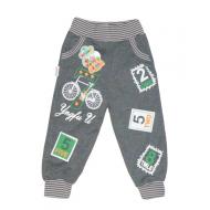 """10-149110 """"ВЕЛОСИПЕД"""" Штаны для мальчика, 1-4 года, т.серый"""