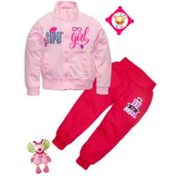"""10-378204 """"SUPER GIRL"""" Костюм для девочки, 3-7 лет, светло-розовый\вишня"""