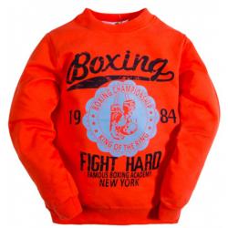 """10-5805 """"BOXING"""" Лонгслив для мальчика на манжете, 5-8 лет, оранжевый"""