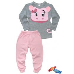 """11-148240 """"SWEET PIG"""" Пижама, 1-4 года, серый\розовый"""