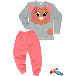 """11-148243 """"SWEET BULL"""" Пижама, 1-4 года, серый\розовый"""