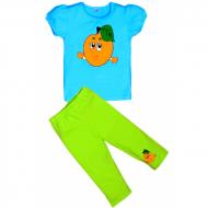 """11-253220 """"ПЕРСИК"""" комплект футболка с бриджами, 2-5 лет, бирюза"""