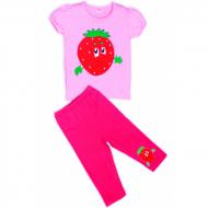 """11-253221 """"КЛУБНИЧКА"""" комплект футболка с бриджами, 2-5 лет, розовый"""