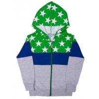 11-375101 Толстовка на молнии с капюшоном, 2-х нитка, зеленый\синий