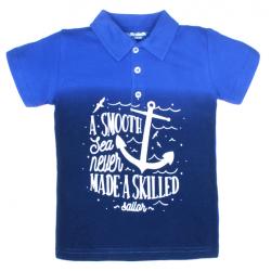 """11-37712 """"A Smooth"""" Рубашка-поло, 3-7 лет, пике, темно-синий\синий"""