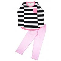 11-698207 Пижама в полоску, 6-9 лет, розовый