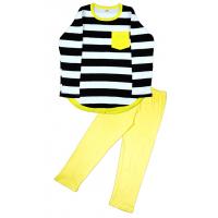 11-698210 Пижама в полоску, 6-9 лет, желтый