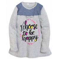"""11-812833 """"Be happy""""  Сорочка для девочки, 8-12 лет, серый"""