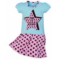 """11-585263 """"STAR"""" комплект с юбкой для девочек, 5-8 лет, бирюза"""