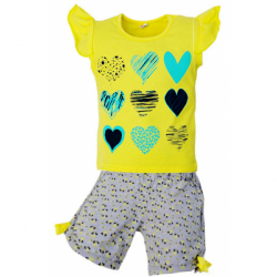 """5852-67 """"Hearts"""" комплект для девочек, 5-8 лет, желтый"""